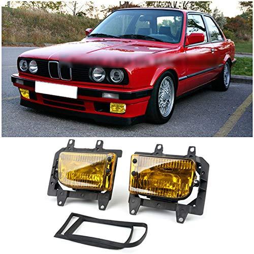 Artudatech Front Bumper Yellow Fog Lights Plastic Lens Kit For 85-93 BMW E30 3-Series Sedan