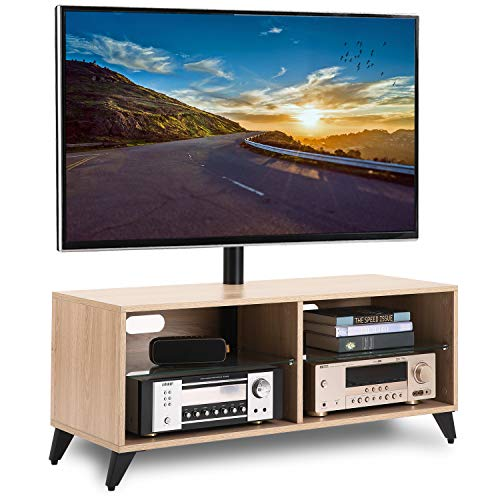 TAVR Wood Media TV Stand Storage Console with Swivel Mount Height Adjustable Entertainment Center for 32 42 50 55 60 65 inch Plasma LCD LED Flat or Curved Screen TVs Shelf Storage Cabinet,Oak,TW4001