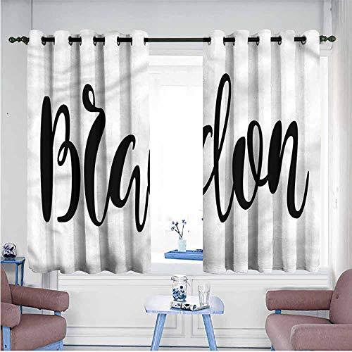 SAMEK Window Curtain Panel,Brandon Widespread Name Pattern,Hipster Patterned,W63x72L
