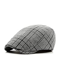 Fasbys Men Cotton Flat Cap Classic Newsboy Cabbie Hat Hunting Beret Duckbill Hats