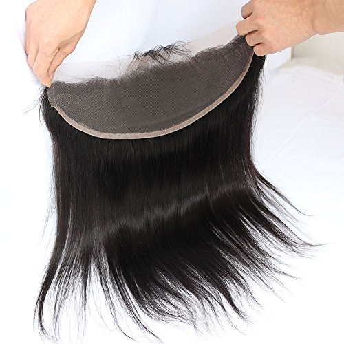 Toprincess Lace Frontal 13x4 Ear to Ear Free Part 100% Unprocessed Silky Straight Brazilian Virgin Hair Top Lace Front Closures with Baby Hair Natural Color 16 Inches