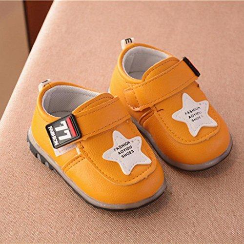 Hunpta Herbst Kleinkind Sport Running Baby Schuhe Jungen Mädchen leuchtende Schuhe Sneakers Gelb