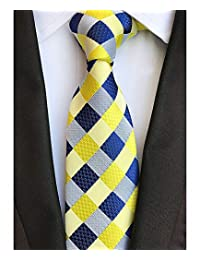 Corbata de seda para hombre de cuadros clásicos, color azul claro, jacquard tela + caja de regalo