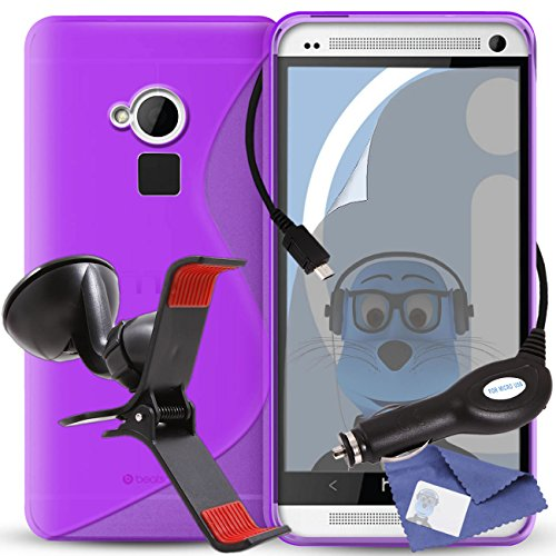 iTALKonline HTC One Max Purple TPU S Line Wave Hybrid Gel Skin Case Protective Jelly Cover with 3 Layer LCD Screen Protector, 360 Degrees Rotating Case Compatible In Car Windscreen Suction Mount Holder and 1000 mAh Coiled In Car Charger LED Indicator and Overload Protection