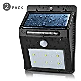 Flexzion Solar Outdoor Lights (2 Pack)- Wall Lighting Lamp Solar Powered Motion Activated Sensor Security Wireless Waterproof 6 LED For Garden Patio, Fencing, Deck, Yard, Home, Driveway, Stairway Review