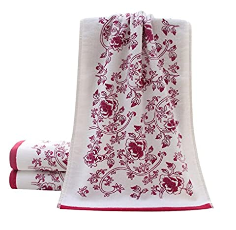 Towels, Rukiwa 3474cm Soft Cotton Face Flower Towel Bamboo Fiber Quick Dry Towels (Red)