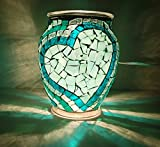 8 inch Handcrafted Teal Heart Mosaic Lamp