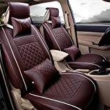 RIRUI Universal PU Leather Car Seat Cover Cushions Front Rear Full Set For 5-Seats , Coffee , l