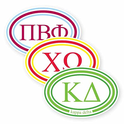 CHI OMEGA Sorrority Licensed Greek Oval Bumper Stickers (Omega Bumper)