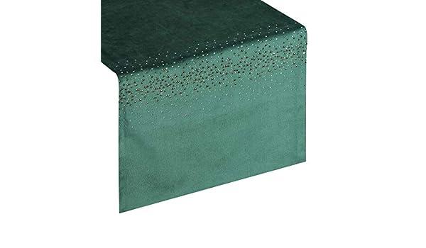decoraci/ón de Mesa Eurofirany Camino de Mesa de Terciopelo 35 x 140 cm 1 Unidad Mantel de Velvet patr/ón geom/étrico Color Verde Oscuro Elegante