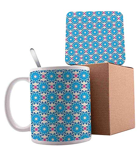 (Repeating Circle Pattern Composed of Graphic Geometric Triangle Symbol Blue Eggshell and Pink Ceramic Cup with Spoon & Coaster Creative Morning Mug Milk Coffee Tea Unique Porcelain Cup Mug 11oz)