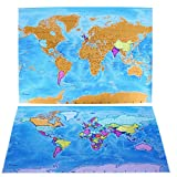 Scratch Off World Map Poster-Detailed Cartography, Large Size, Colorful Design. Includes World Necklace, Scratching Tool, and Other Accessories. A Premium Gift for Travelers. by TravelGosu