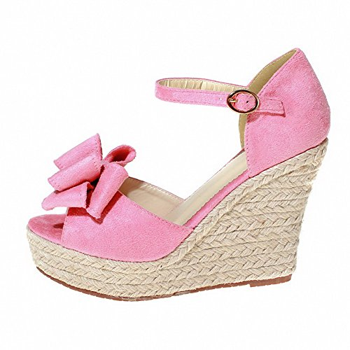 Womens Heels Suede Open Toe Pink Solid High Imitated AmoonyFashion Sandals Buckle x1Bgdqwx4