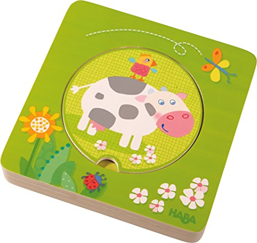 HABA On The Farm 5 Piece Wooden Puzzle with Layered Disks for Ages 12 Months and Up ()