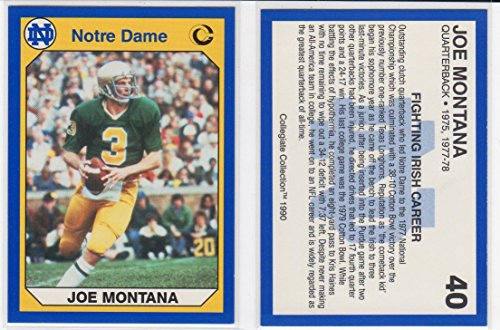 Joe Montana Notre Dame Fighting Irish College Football Collector's Card