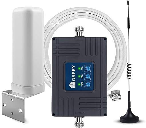 ORPEY Amplificador de Señal Movil LTE 4G 3G gsm Tribanda Amplificador 4G Repetidor gsm 900MHz(Banda 8) 3G 2100MHz(Banda 1) y 4G LTE 800MHz(Banda20) ...