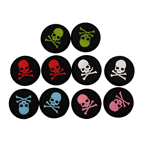 Thumb Grip Caps, eJiasu Skull Replacement Silicone Thumb Stick Grip Hat Cover for PS4, PS3, PS2, Xbox one, Xbox 360 Controller (10pairs-20pcs) (Skull Skin Ps2)