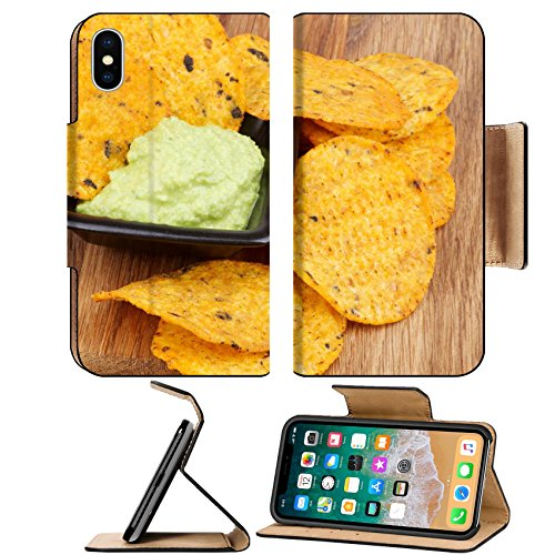 MSD Premium Apple iPhone X Flip Pu Leather Wallet Case Arrangement of Tortilla Chips and Guacamole Sauce in Black Bowl closeup on Wooden Board Image ID - Sale For Tortis