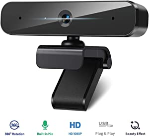 Webcam with Microphone Web Cameras for Computer, Laptop and Desktop, HD Webcam 1080P Live Streaming Camera with Bulit-in Mic, 360° Viewing Angle and Multi-Compatible for Video Conference Call