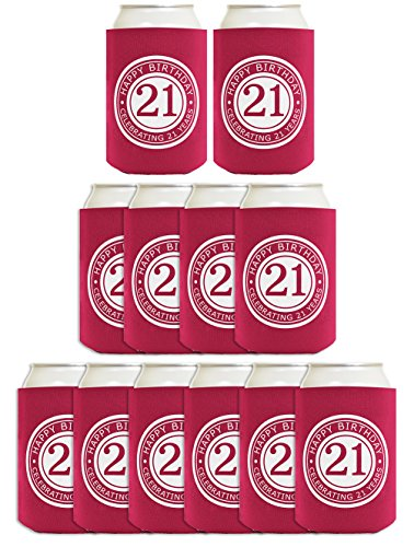 21st Birthday Gift Celebrating 21 Years 12 Pack Can Coolies Drink Coolers Mag...]()