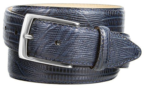 Embossed Lizard - Joseph Nickel Finish Buckle Italian Leather Alligator Dress Belt 1-3/8 Wide (Lizard Navy, 36)
