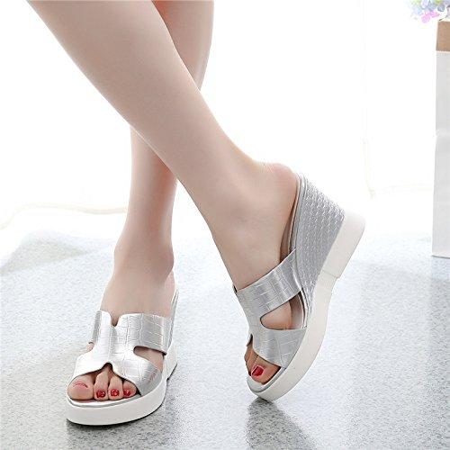 abbigliamento di trentotto 8cm argenteo impermeabile tacchi donna summer china le spillo pantofole tallone GTVERNH summer forte a sandali moda asciugamani piattaforma wqTZAx