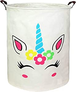 HUAYEE 19.7 Inches Large Laundry Basket Waterproof Round Cotton Linen Collapsible Storage bin with Handles for Hamper,Kids Room,Toy Storage (Blue Horned Unicorn)