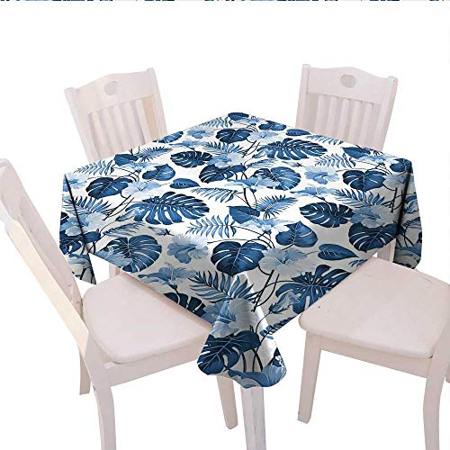 longbuyer Leaf Linen Tablecloth Palm and Mango Tree Branch and Hawaiian Hibiscus Flower Image Round Outdoor Tablecloth 60