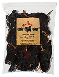 Dried Ancho Chiles Peppers El Molcajete Brand 8 oz Resealable Bag ‐ Mexican Recipes, Chilis, Tamales, Salsa, Chili, Meats, Soups, Mole, Stews & BBQ