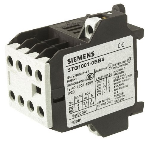 Siemens 3TG10 01-0BB4 Coupling Power Relay, Screw Connections, 4 Pin, Hum Free, 35mm Standard Mounting Rail Size, 3 NO + 1 NC Contacts, 20VDC Max Resistive Load, 5Hp Rating of Three Phase Load at 50Hz, 8.4A Max Inductive Current, 24VDC Control Supply Volt by Siemens