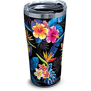 Tervis 1295067 Tropical Collection Floral Stainless Steel Insulated Tumbler with Clear and Black Hammer Lid, 20oz, Silver