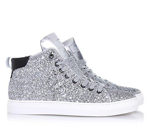 MISS GRANT - Sneaker à lacets argenté en cuir, complètement couverte par glitter ton-sur-ton, fermeture éclair latérale, logo sur la languette, Fille, Filles, Femme, Femmes