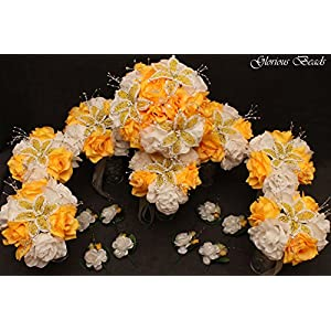 YELLOW BEADED Flower Lily Wedding / Quincenarea Bouquet 16 PC Set with FREE Boutonnieres 18