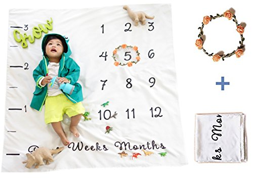 Baby Milestone Blanket Photography Prop | Unisex Backdrop for Boy and Girl Infant & Toddlers - Personalize Decoration for Tracking Day Weekly Monthly Growth with Floral -