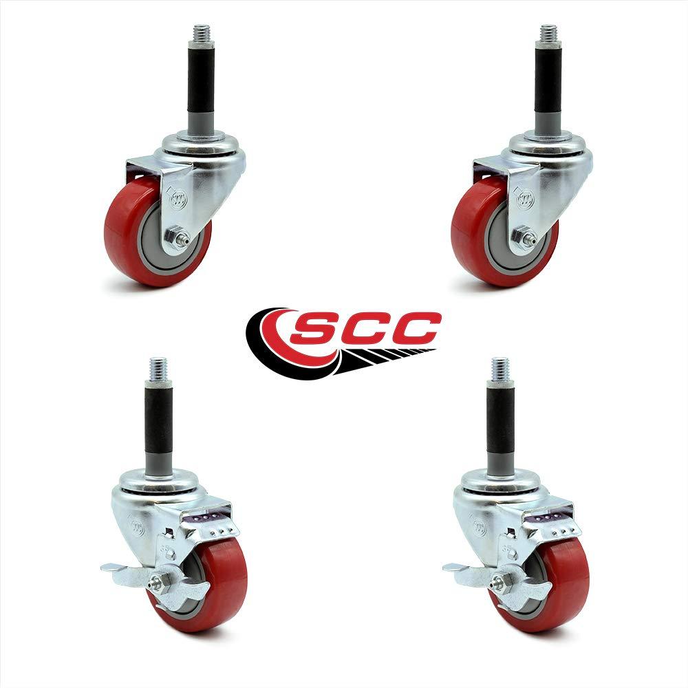 Service Caster - 3.5'' x 1.25'' Red Polyurethane Wheels Caster Set of 4-2 Swivel Casters w/Brake w/3/4'' Expanding Stem/2 Swivel
