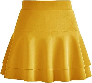 Afibi Falda de skater plisada con cintura elástica - Amarillo - X ...