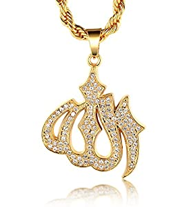"""Halukakah 18k Real Gold Plated """"ALLAH"""" Islam Pendant Necklace with FREE Rope Chain 30"""" Thick 5mm"""