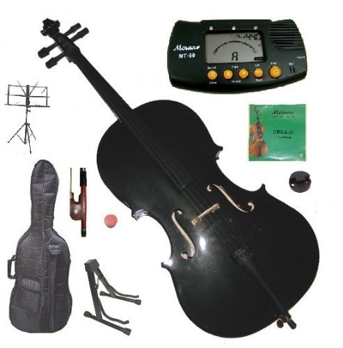 Merano 4/4 Full Size Black Student Cello with Bag and Bow+2 Sets of Strings+Cello Stand+Music Stand+Metro Tuner+Rosin+Rubber Round Mute by Merano