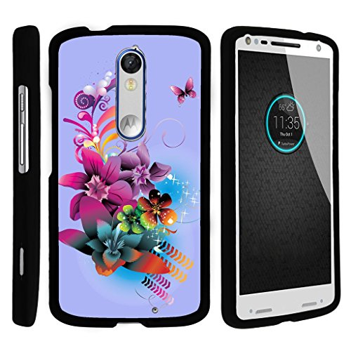 MINITURTLE Case Compatible w/ Miniturtle [Motorola Droid Turbo 2 Case, Kinzie Case, Moto X Force Slim Cover] [Snap Shell] 2 Piece Hard Cover Plastic Snap On Case Purple Flower Butterfly
