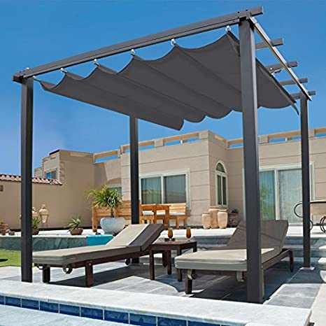 IDMarket - Pérgola de techo retráctil con 4 pies, 3 x 3 m, color gris: Amazon.es: Jardín