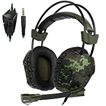 [2017 Newest Version] Sades SA921Plus 3.5m Jack Stereo Over Ear Computer Gaming Headset Headphone with Adjustale Mircrophone for Xboxone/PS4/Mac/Table/Phone/PC(Camo Green)