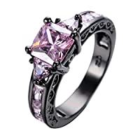 Bamos Jewelry Womens Pink Zircon Cubic Black Gold Wedding Rings Size 5-11