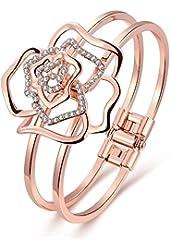 "18k Rose Gold Plated ""Rose Shape"" Open Bangle Bracelets for Women,valentine's Day Gift"