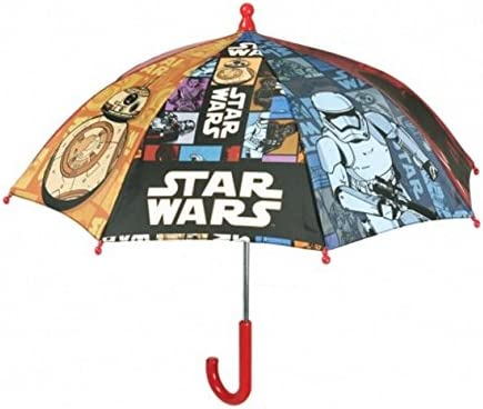 Perletti - Paraguas largo para niños de Star Wars, apertura segura