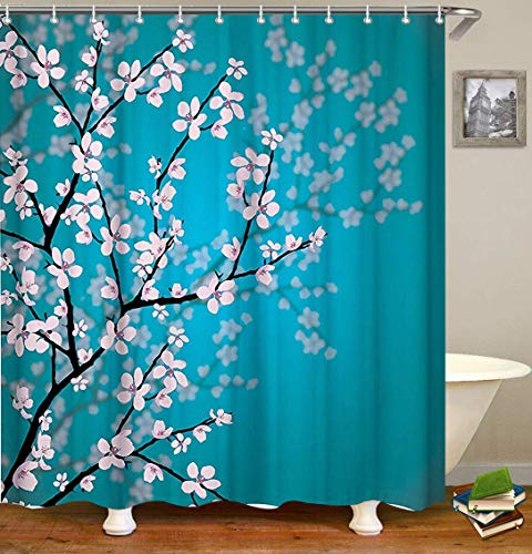 Dynabit Cherry Blossom Fabric Shower Curtain Set with 12 Hooks Mildew Resistant Shower Curtains Machine Washable Bathroom Curtains72 X 72 inch, - Shower Cherry Blossom Curtain
