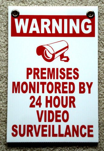 VINBOX WARNING PREMISES MONITORED 24 HOUR VIDEO SURVEILLANCE SIGN 8x12 NEW from VINBOX
