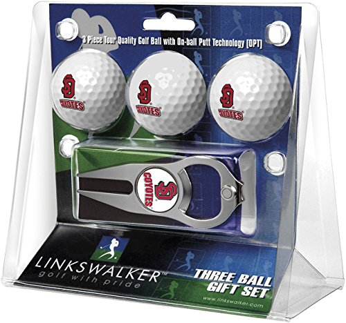 Golf Dakota Ball South (NCAA South Dakota Coyotes - 3 Ball Gift Pack with Hat Trick Divot Tool)