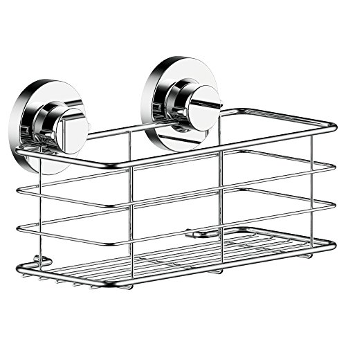 123 Dynamic Stainless Steel Rustproof Deep Shower Caddy Basket Holder - Super Strong Rotate & Lock Vacuum Suction Cups - Storage for Shampoo, Conditioner & Shower Gel in your Bathroom & Shower