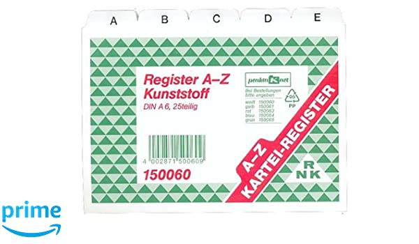 RNK-Vordruckverlag 150060 - A6-Z fichas de un plástico blanco: Amazon.es: Oficina y papelería