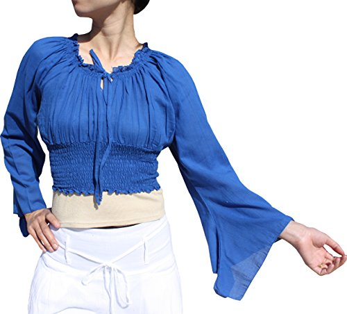 Pixie Smock (Raan Pah Muang Brand Sexy Crop Smock Top Medieval Ladies Light Cotton Pixie Shirt, Large, Blue)